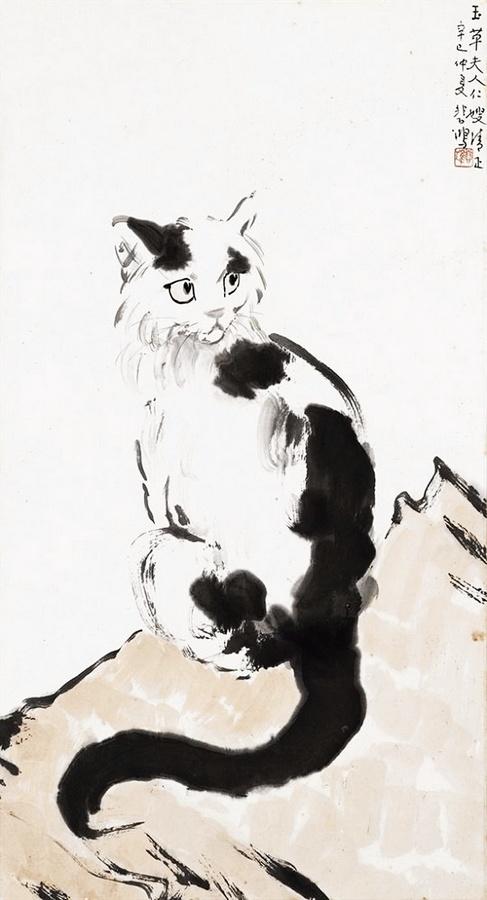 图为徐悲鸿作品《猫》.
