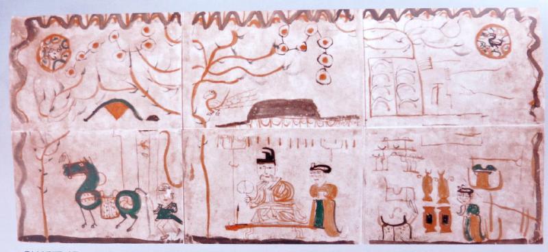 本报记者张迎春   如果不是自治区博物馆的研究员阿迪力阿布力孜介绍,记者不会知道,早在魏晋时期,生活在西域地区的先民们,已经会在纸上画画了,而且画得逼真、生动。他们的画既像儿童画,又有写实的绘画风格,尤其是一幅我国保存时代最早的纸画《墓主人生活图》,让记者产生了兴趣。 给纸画起名   《墓主人生活图》是1964年从位于吐鲁番市阿斯塔那古墓葬群出土的。当新疆考古人员小心翼翼地将它从墓中拿出来时,望着它,不知该叫它什么名字。后来他们发现,画的风格和内容,看上去与甘肃境内的嘉峪关出土的同一时期的画像砖很相似